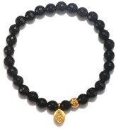 Satya Jewelry Onyx Gold Plated Protective Hamsa Stretch Bracelet