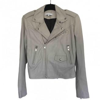 IRO Grey Leather Jacket for Women