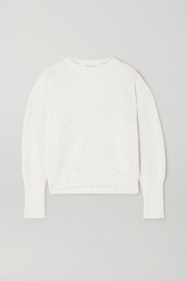 Brunello Cucinelli Sequin-embellished Ribbed Cotton And Silk-blend Sweater - White