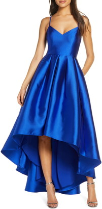 Brinker & Eliza Pleated Mikado High/Low Ballgown