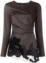 Josie Natori lace draped detail blouse