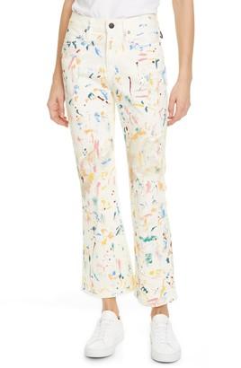 Simon Miller Paint Splatter Crop Bell Jeans