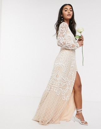 Frock and Frill Bridal embellished maxi dress in white
