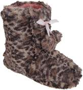 Universal Textiles Girls Leopard Print Boot Slippers With Bow And Pom-Poms
