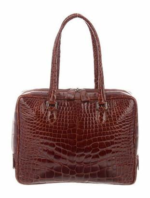 Saks Fifth Avenue Alligator Handle Bag Brown