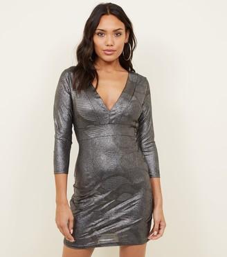 New Look Mela Metallic Bodycon Dress