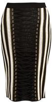 Balmain Lace-up striped lamé skirt