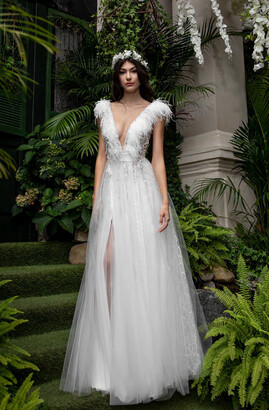 Cristallini Feathered Cap Sleeve Gown with Slit