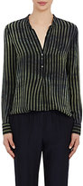 Raquel Allegra Women's Striped Silk Tunic Blouse-GREEN