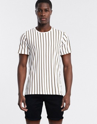 Selected vertical stripe t-shirt in white organic cotton