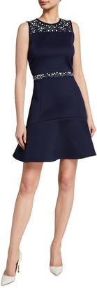 MICHAEL Michael Kors Flower Embellished Sleeveless Mini Dress