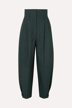 Givenchy Pleated Cotton Tapered Pants - Green