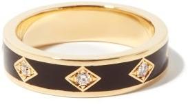Azlee Night Sky Diamond & 18kt Gold Ring - Black Gold