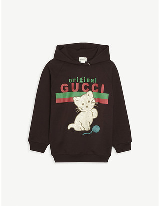 Gucci Original log-print and cat-embroidered cotton hoody 4-10 years