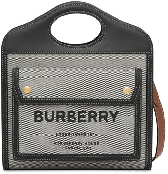 Burberry Mini Pocket Logo Canvas & Leather Tote