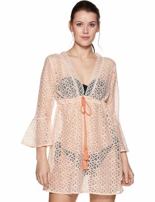 Oasis Wild Women's Beachwear Coverup with Empire Waistline and Ties X-Small Peach