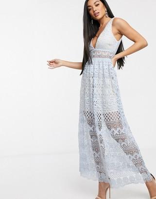 Love Triangle v neck lace overlay midi dress dusky blue
