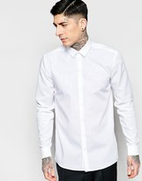Minimum Smart Shirt In Slim Fit Stretch Cotton In White