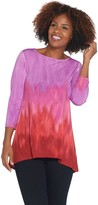 Linea By Louis Dell'olio by Louis Dell'Olio Printed 3/4 Sleeve Hi-Low Hem Tunic
