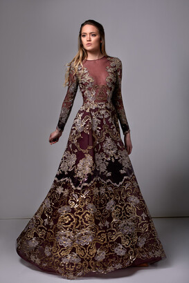Edward Arsouni Long Sleeve Sequined Lace Gown