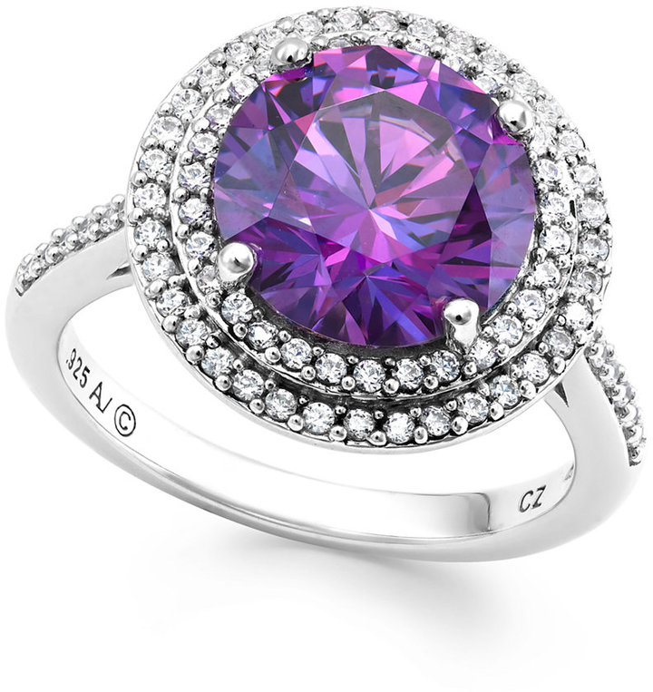 Arabella Purple and White Swarovski Zirconia Ring in Sterling Silver