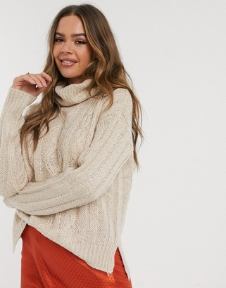 Qed London cable knit roll neck jumper in taupe marl