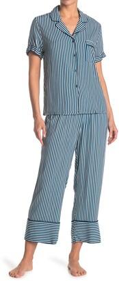 Jonquil Striped Short Sleeve Top & Pants 2-Piece Pajama Set
