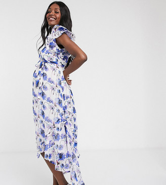 Mama Licious Mamalicious Maternity maxi dress with hi-low hem and ruffle detail in floral