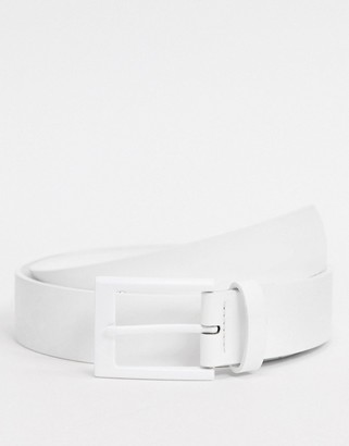 Asos DESIGN slim belt in white faux leather with square studs