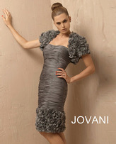 Jovani Ruffled Sleeves and Hemline Cocktail Dress 4890