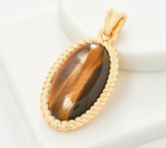 NUOVO Oro Gemstone Oval Pendant w/ Rope Border 14K Gold Over Resin