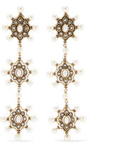 Gucci Gold-tone Faux Pearl And Crystal Earrings