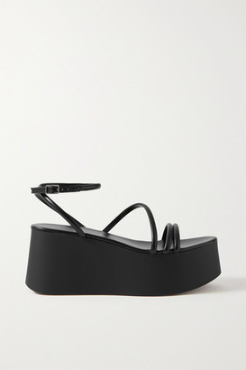 Gianvito Rossi 80 Leather Platform Sandals - Black