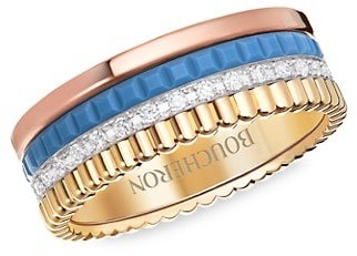 Boucheron Quatre Blue Edition 18K Tri-Tone Gold, Diamond & Ceramic Ring