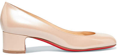 Christian Louboutin Cadrilla 40 Patent-leather Pumps - Beige