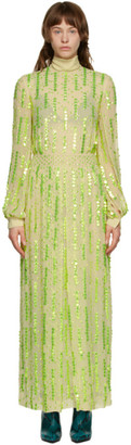 Dries Van Noten Green Chiffon Long Dress