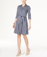 Charter Club Cotton Roll-Tab Printed Shirtdress, Only at Macy's