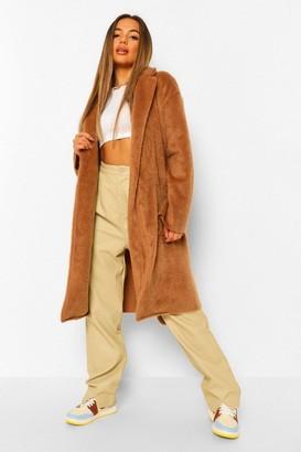 boohoo Petite Belted Longline Brushed Wool Look Coat