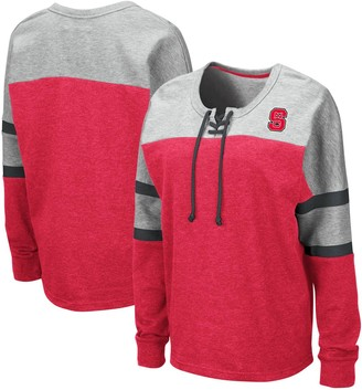 Colosseum Women's Red NC State Wolfpack Manolo Lace-Up French Terry Pullover Sweatshirt