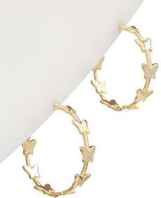 Alanna Bess Limited Collection 14K Over Silver Cz Butterfly Hoops