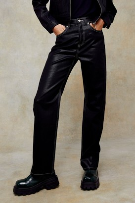 Topshop Womens Black Coated 90S Straight Jeans - Black