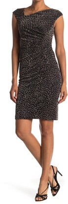 Vince Camuto Asymmetrical Neck Leopard Dress