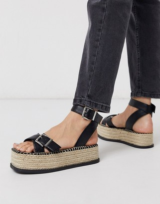 ASOS DESIGN Tina chunky espadrille flatforms in black