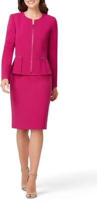 Tahari Two-Piece Zip Front Peplum Suit
