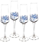 Spode Blue Italian Champange Flutes (Set of 4)