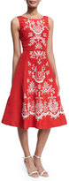 Oscar de la Renta Sleeveless Embroidered Faille Cocktail Dress, Red