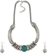 Things2Die4 Silvertone Necklace and Earring Set Turquoise Bead and Rhinestones