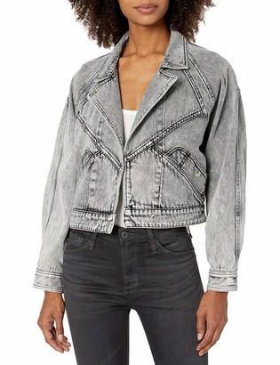 ASTR the Label Women's Collared Long Sleeve Oversized Etienne Denim Jacket