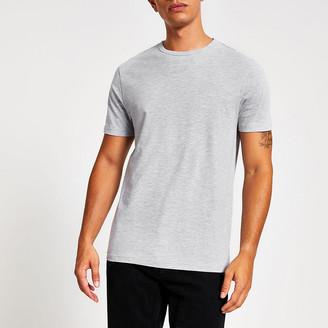 River Island Grey marl slim fit crew neck T-shirt