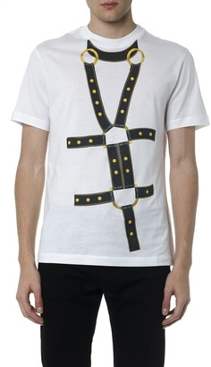 Versace White And Black Printed Cotton T Shirt